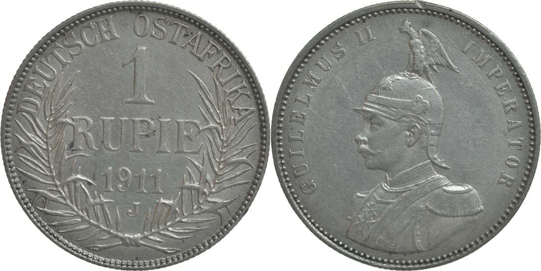 Deutschland : 1 Rupie Wilhelm II. in Uniform winz. Rs. 1911 vz.