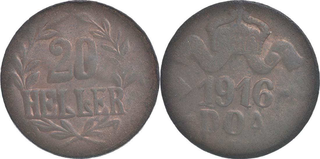 Deutschland : 20 Heller große Krone, Metall geprüft per Röntgenfluoreszenzanalyse -selten- 1916 ss.