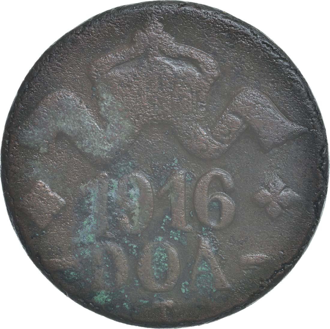 Rückseite :Deutschland : 20 Heller große Krone, Metall geprüft per Röntgenfluoreszenzanalyse  1916 ss.