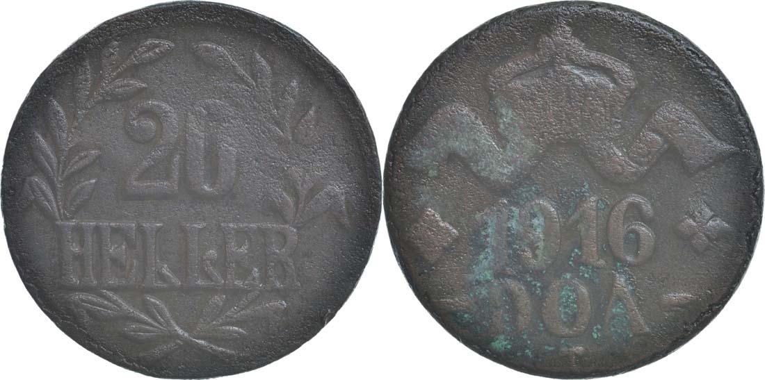 Deutschland : 20 Heller große Krone, Metall geprüft per Röntgenfluoreszenzanalyse  1916 ss.