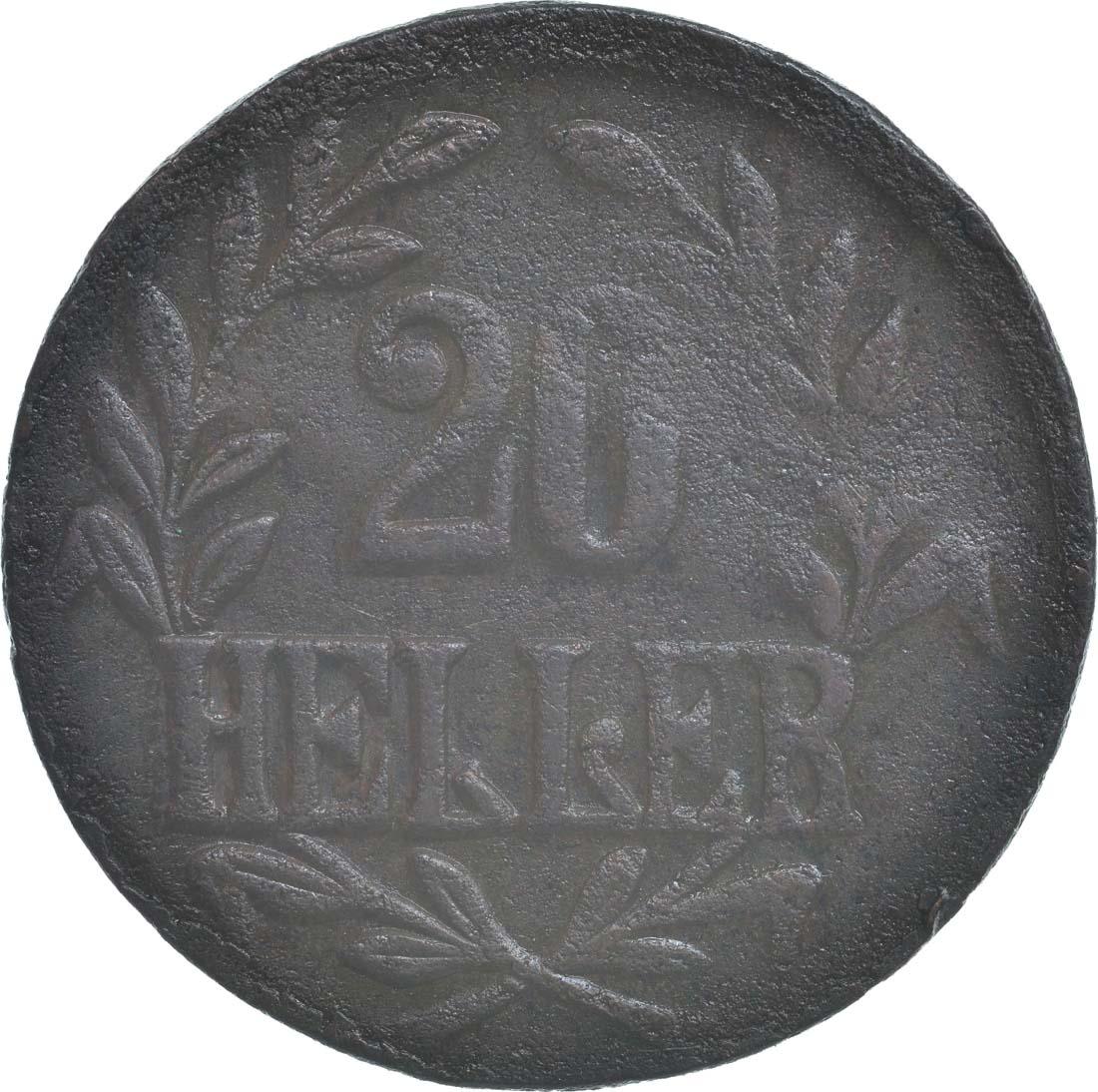 Vorderseite :Deutschland : 20 Heller große Krone, Metall geprüft per Röntgenfluoreszenzanalyse  1916 ss.