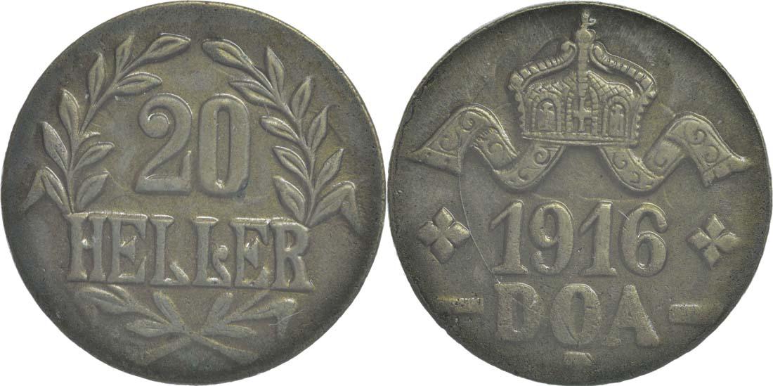 Deutschland : 20 Heller breite Krone, Metall geprüft per Röntgenfluoreszenzanalyse !Erhaltung! 1916 vz.