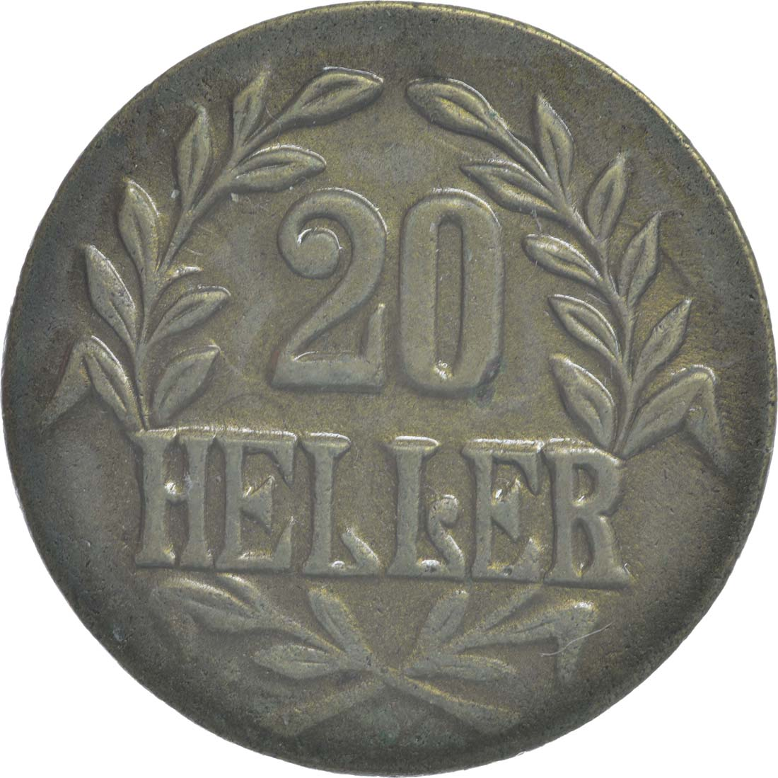 Vorderseite:Deutschland : 20 Heller breite Krone, Metall geprüft per Röntgenfluoreszenzanalyse !Erhaltung! 1916 vz.