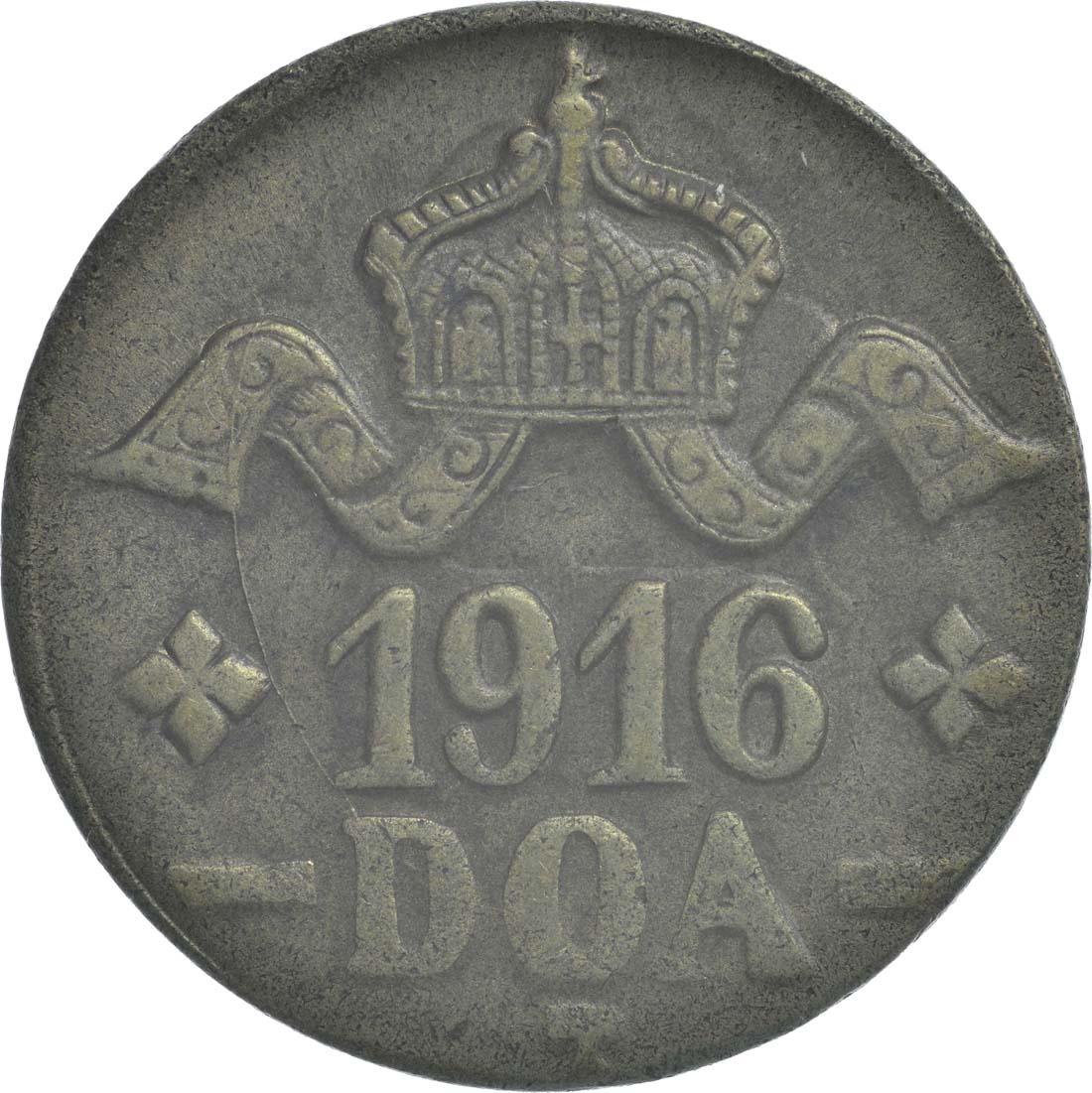 Rückseite:Deutschland : 20 Heller breite Krone, Metall geprüft per Röntgenfluoreszenzanalyse  1916 vz.