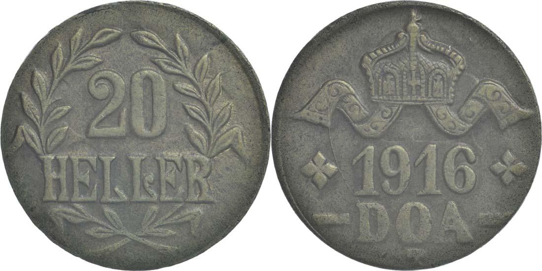 Deutschland : 20 Heller breite Krone, Metall geprüft per Röntgenfluoreszenzanalyse  1916 vz.