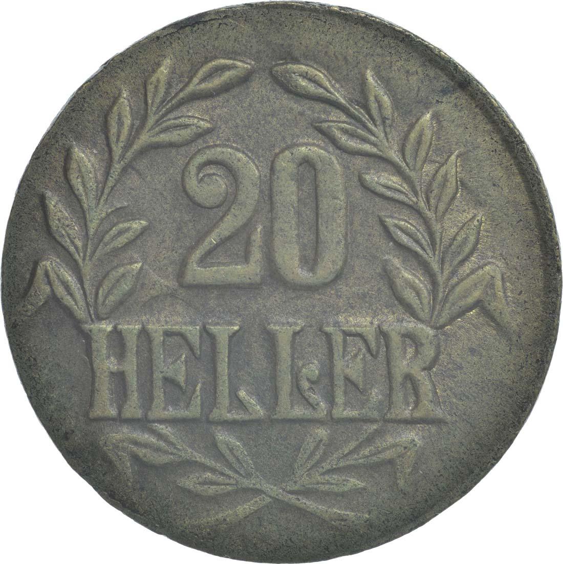 Vorderseite:Deutschland : 20 Heller breite Krone, Metall geprüft per Röntgenfluoreszenzanalyse  1916 vz.