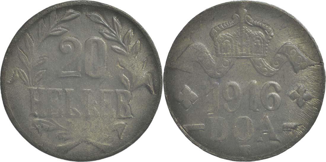 Deutschland : 20 Heller Metall geprüft per Röntgenfluoreszenzanalyse  1916 vz.