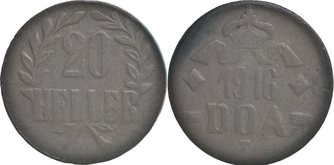 Übersicht:Deutschland : 20 Heller Metall geprüft per Röntgenfluoreszenzanalyse  1916 ss.