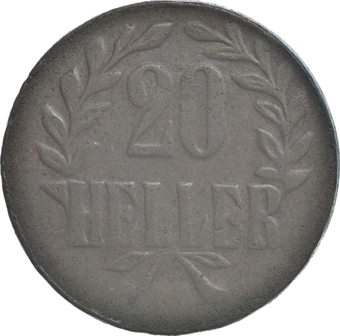 Vorderseite:Deutschland : 20 Heller Metall geprüft per Röntgenfluoreszenzanalyse  1916 ss.