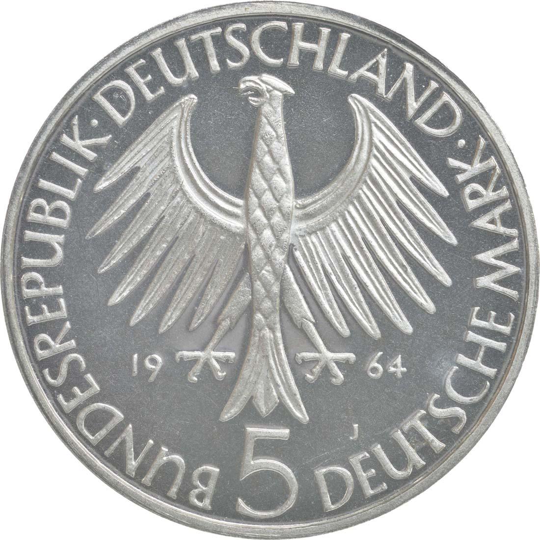 Rückseite:Deutschland : 5 DM Fichte  1964 PP