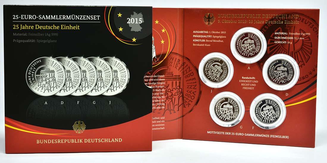 Deutschland 25 Euro 25 Jahre Deutsche Einheit Komplettsatz A J 5