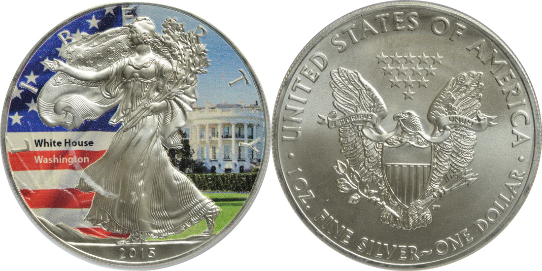 "USA : 1 Dollar Silber Eagle ""The White House""  2015 Stgl."
