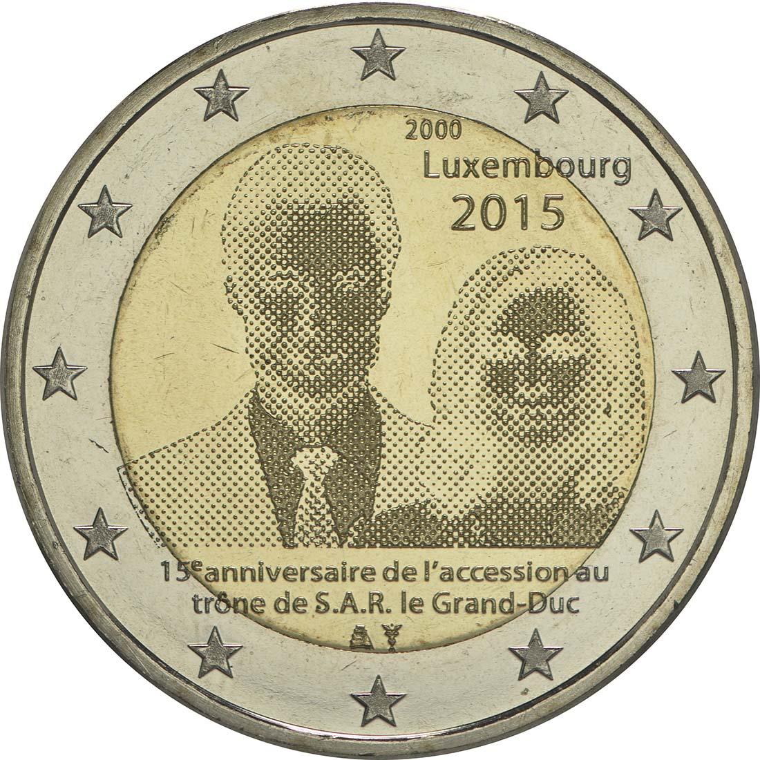Rückseite :Luxemburg : 2 Euro 15. Jahrestag der Thronbesteigung von Großherzog Henri  2015 bfr