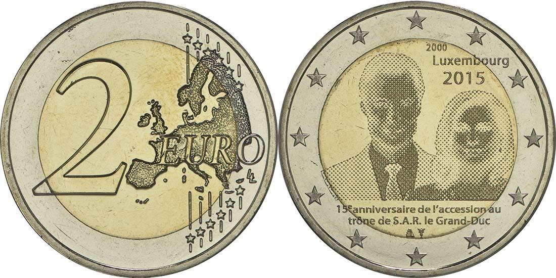Luxemburg : 2 Euro 15. Jahrestag der Thronbesteigung von Großherzog Henri  2015 bfr