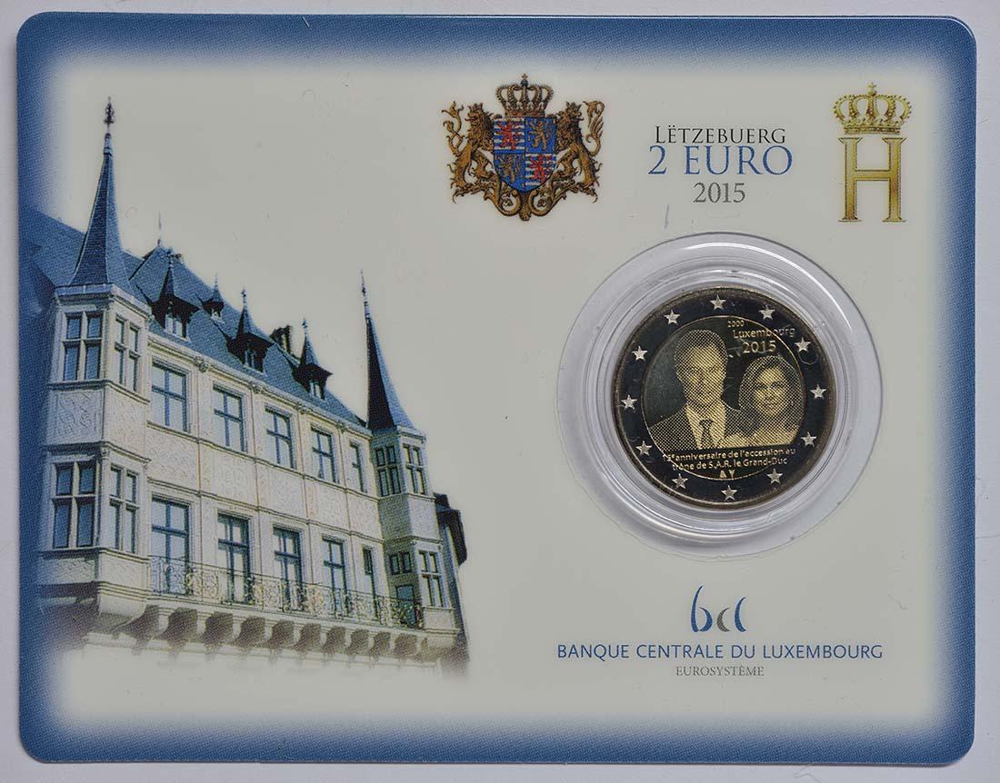 luxemburg 2 euro grossherzog henri 2015 in coincard. Black Bedroom Furniture Sets. Home Design Ideas