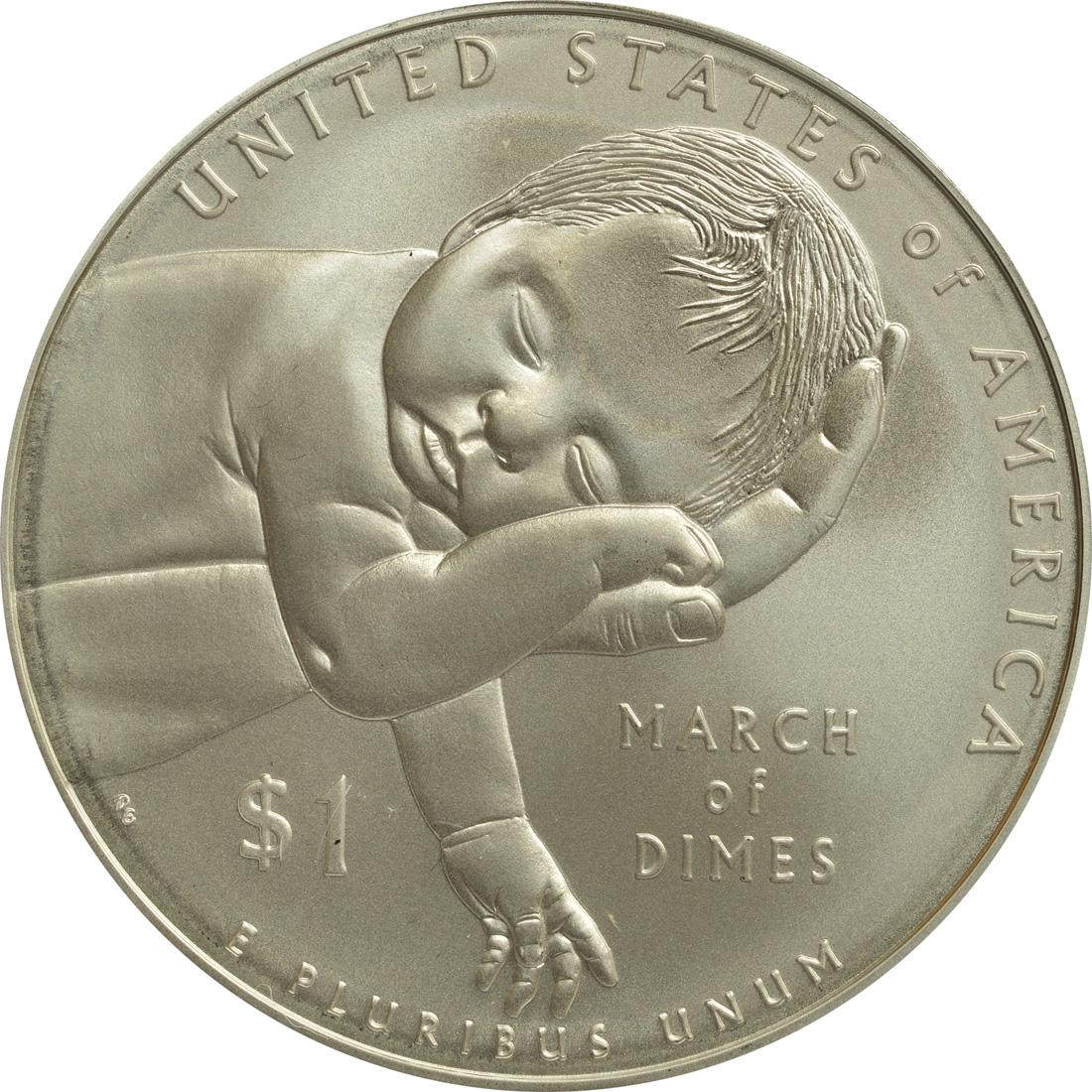 Vorderseite:USA : 1 Dollar 75 Jahre March of Dimes - Kinderlähmungs-Stiftung  2015 PP