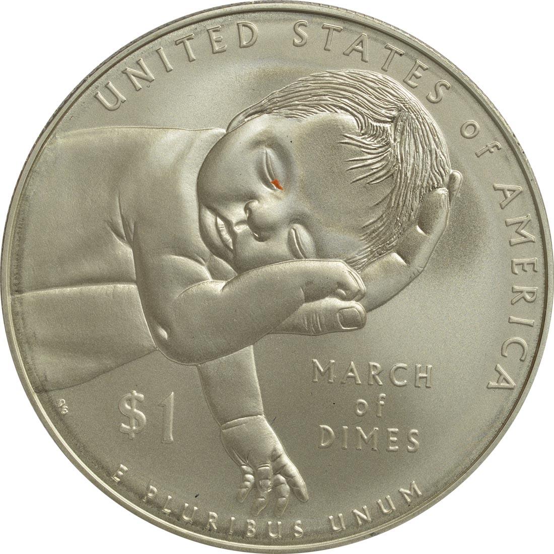Vorderseite:USA : 1 Dollar 75 Jahre March of Dimes (Kinderlähmungs-Stiftung)  2015 Stgl.