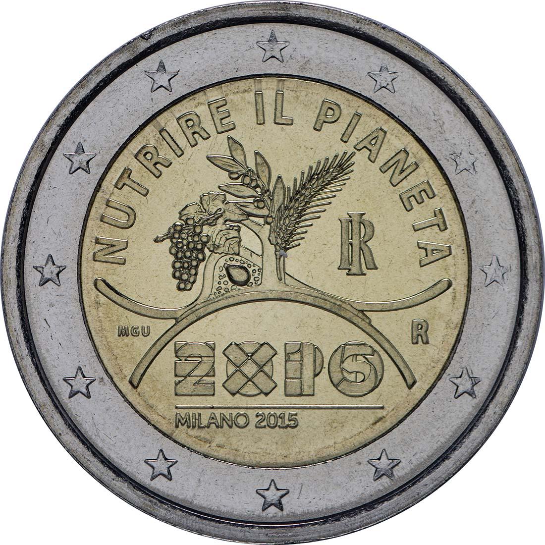 Rückseite :Italien : 2 Euro Expo Mailand  2015 bfr