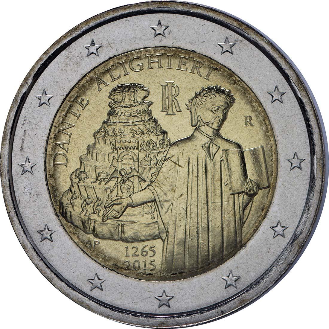 Rückseite :Italien : 2 Euro Dante Alighieri  2015 bfr