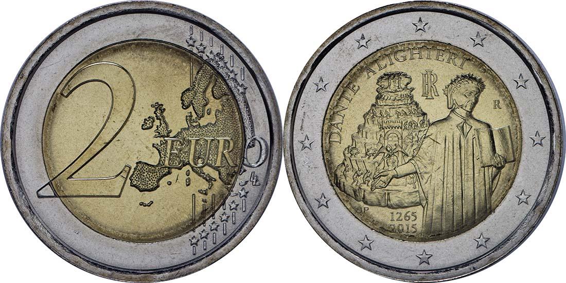 Lieferumfang:Italien : 2 Euro Dante Alighieri  2015 bfr