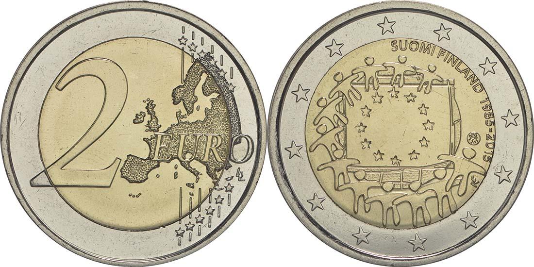Lieferumfang:Finnland : 2 Euro 30 Jahre Europäische Flagge  2015 bfr