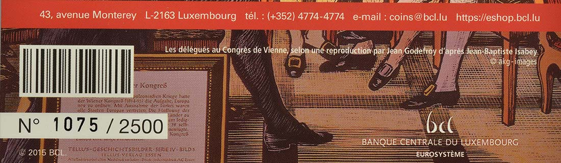 Zertifikat:Luxemburg : 5 Euro Wiener Kongress  2015 PP