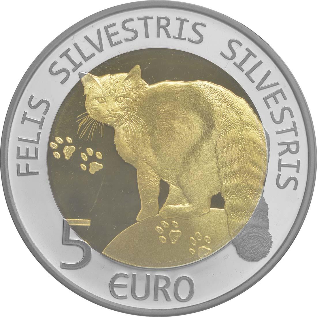 Rückseite:Luxemburg : 5 Euro Wildkatze  2015 PP