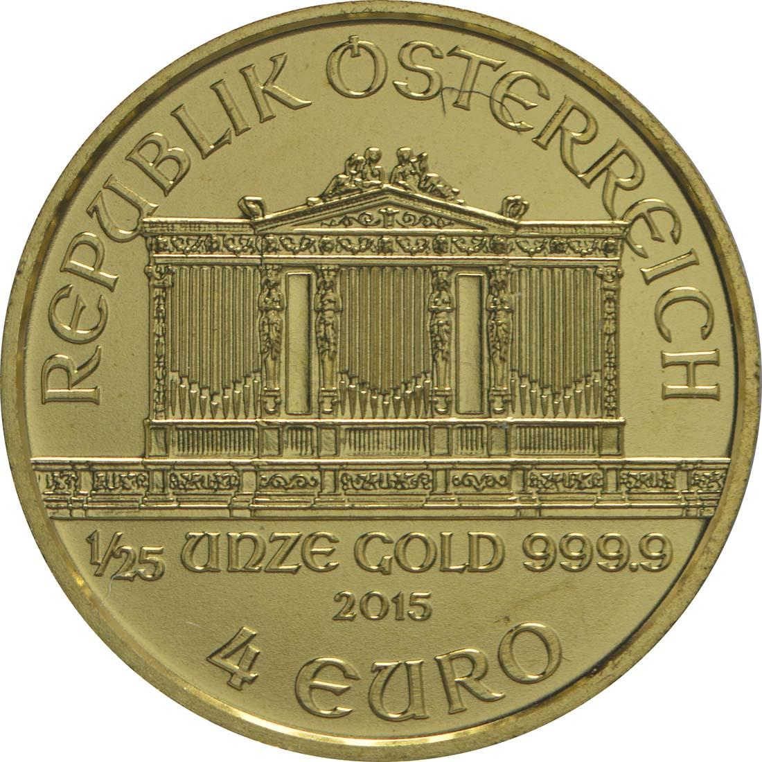 Rückseite:Österreich : 4 Euro Philharmoniker  2015 Stgl.