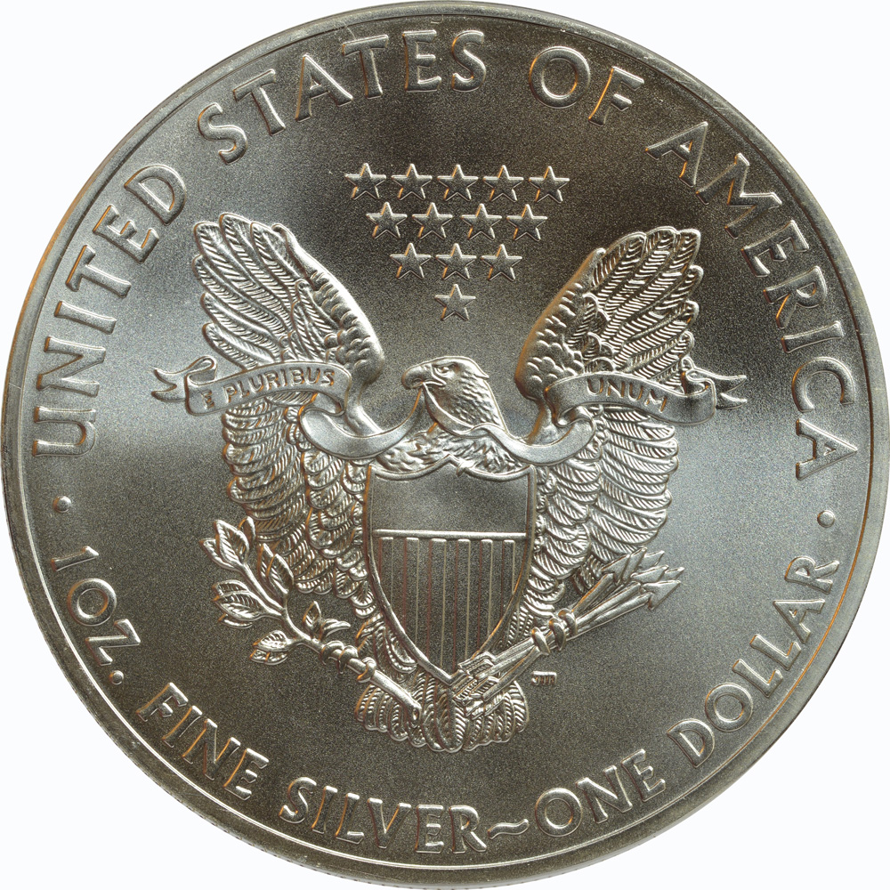 """Rückseite:USA : 1 Dollar 2015 Silber Eagle - Singapur - """"Löwe""""  2015 Stgl."""