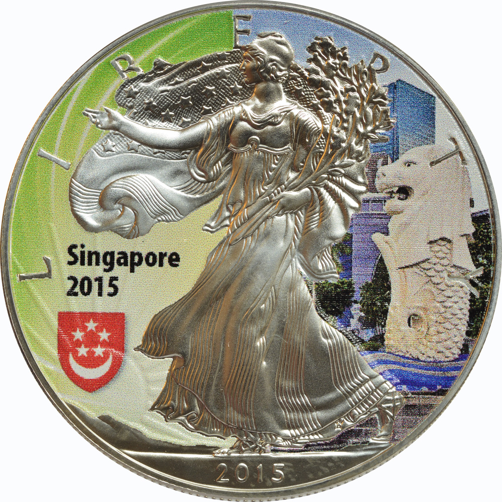 "Vorderseite:USA : 1 Dollar 2015 Silber Eagle - Singapur - ""Löwe""  2015 Stgl."
