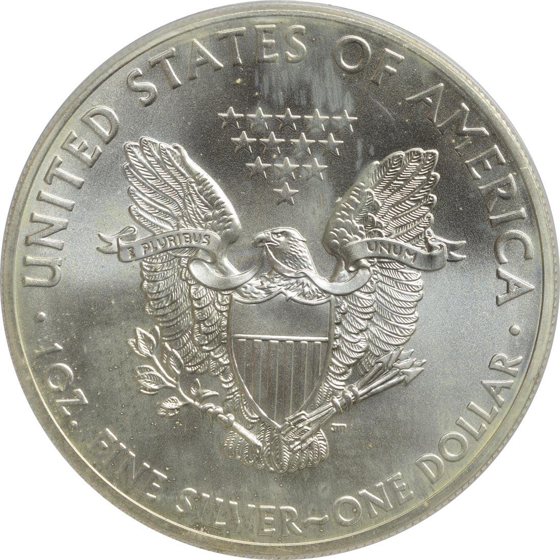 """Rückseite:USA : 1 Dollar Silber Eagle - Singapur - """"Marina""""  2015 Stgl."""