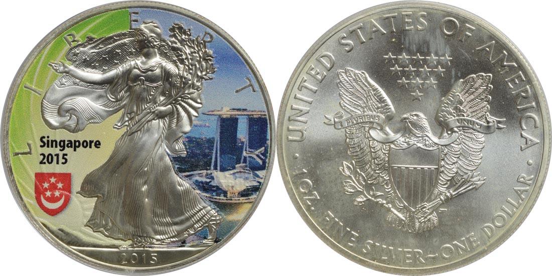 """USA : 1 Dollar Silber Eagle - Singapur - """"Marina""""  2015 Stgl."""