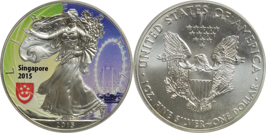 "USA : 1 Dollar Silber Eagle - Singapur - ""Riesenrad""  2015 Stgl."