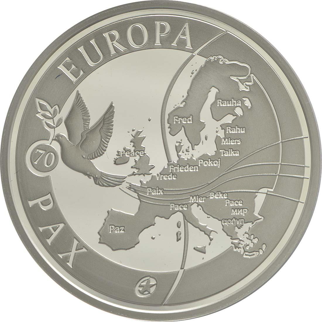 Vorderseite:Belgien : 10 Euro 70 Jahre Frieden in Europa  2015 PP