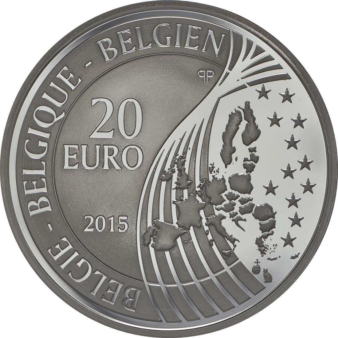 Rückseite:Belgien : 20 Euro Raub der Europa  2015 PP