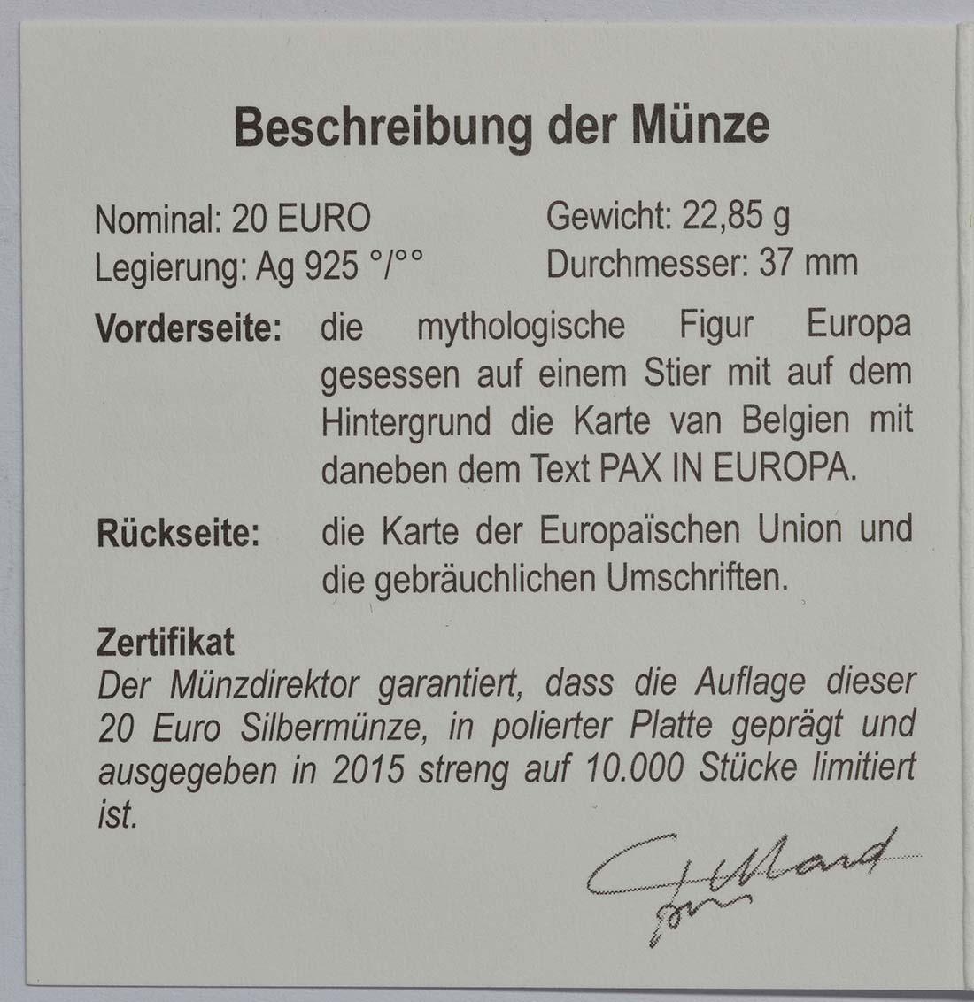 Zertifikat:Belgien : 20 Euro Raub der Europa  2015 PP