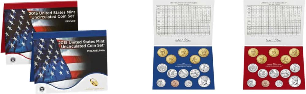 USA : 13,82 Dollar 2 x 6,91 $ 2015 Jahressatz incl. 5x25 Cent - D + P  2015 Stgl.