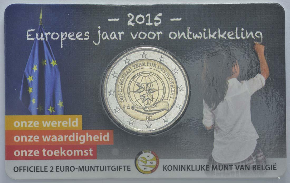 Rückseite :Belgien : 2 Euro Europäisches Jahr für Entwicklung  2015 Stgl.