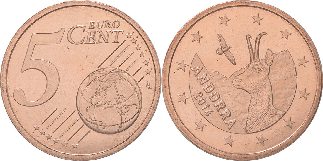 Übersicht:Andorra : 5 Cent Andorra  2014 bfr