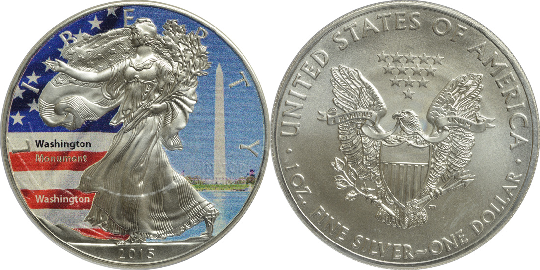 "USA : 1 Dollar Silber Eagle ""Washington-Monument""  2015 Stgl."