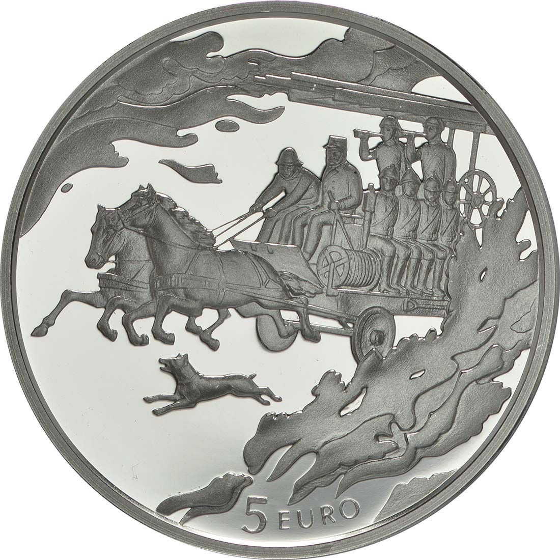 Vorderseite:Lettland : 5 Euro 150 Jahre Feuerwehr  2015 PP