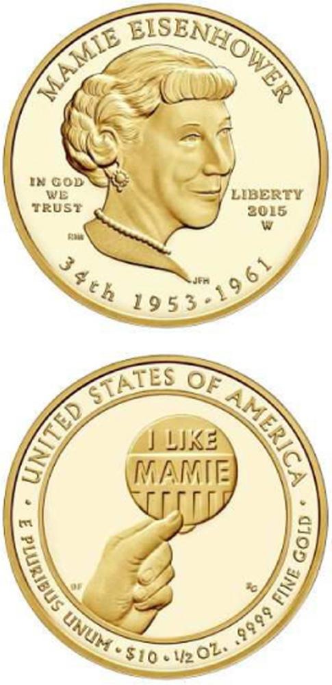 USA : 10 Dollar Mamie Eisenhower  2015 Stgl.