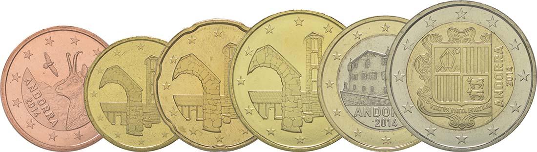 Andorra : 3,85 Euro Satz aus 5,10,20,50 Cent + 1 und 2 Euro  2014 bfr