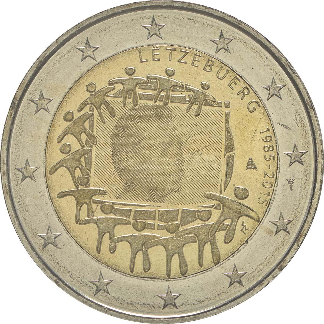 Rückseite :Luxemburg : 2 Euro 30 Jahre Europäische Flagge  2015 bfr