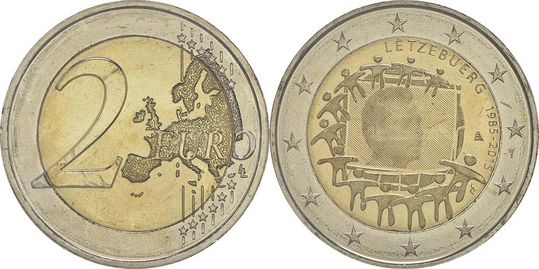 Luxemburg : 2 Euro 30 Jahre Europäische Flagge  2015 bfr