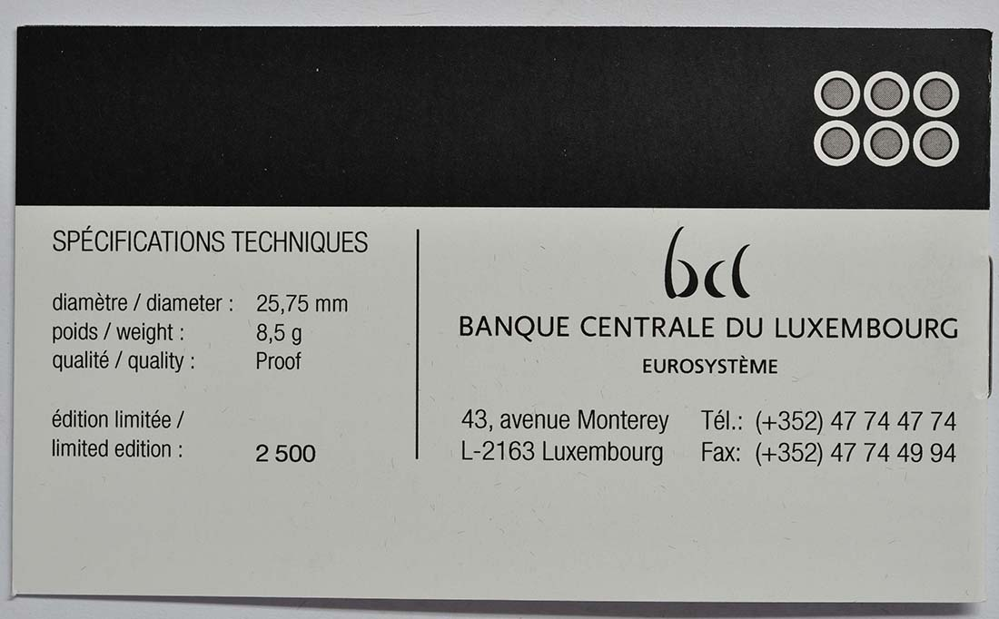 Zertifikat:Luxemburg : 12 Euro Sondersatz 6 x 2 Euro Gedenkmünzen von 2013-2015  2015 PP