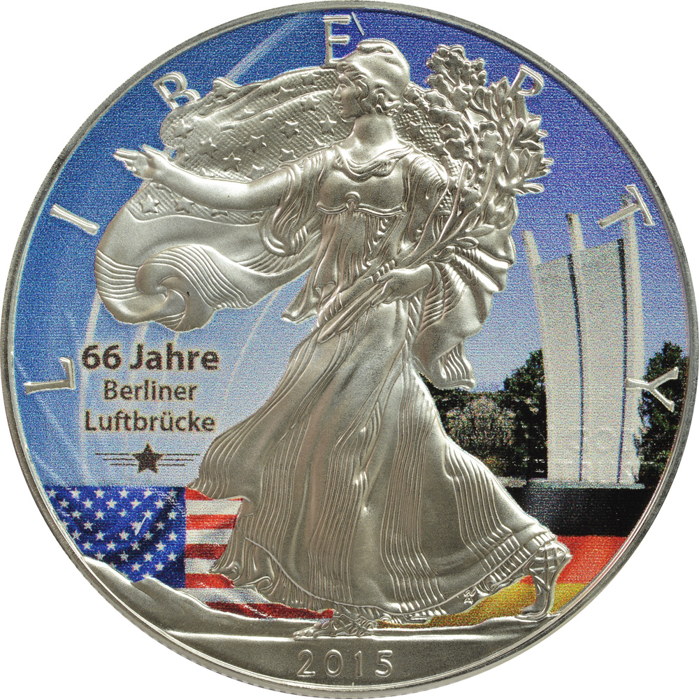 Vorderseite :USA : 1 Dollar Silber Eagle - Berliner Luftbrücke/Denkmal  2015 Stgl.