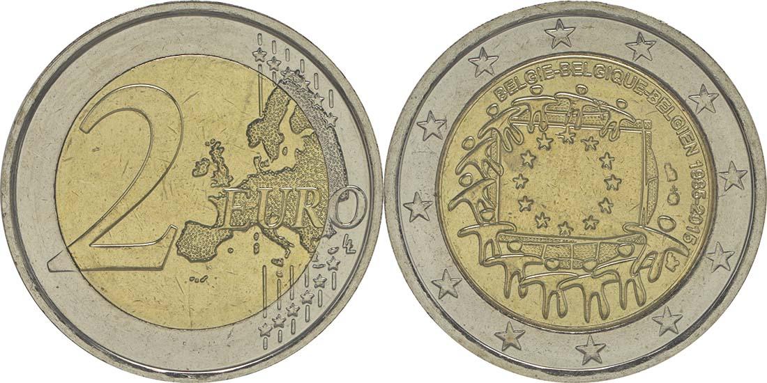 Lieferumfang:Belgien : 2 Euro 30 Jahre Europäische Flagge  2015 bfr