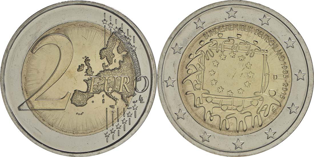 Deutschland : 2 Euro 30 Jahre Europäische Flagge  2015 bfr