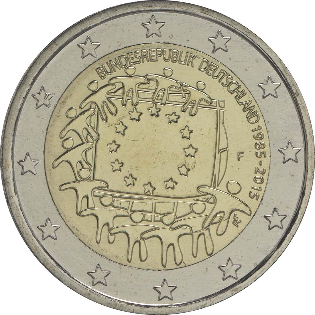 Rückseite :Deutschland : 2 Euro 30 Jahre Europäische Flagge  2015 bfr